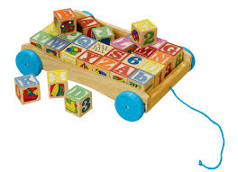 kid connection wooden alphabet blocks wagon with pull string com