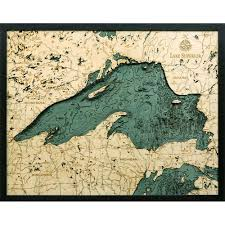 Vineyard Lake Depth Chart Lake Superior Bathymetric Wood Chart