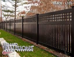 black vinyl fences. Perfect Vinyl BLACK VINYL FENCE  V52156 SemiPrivacy Fence With Old English Lattice  Shown In The Grand Illusions Color Spectrum Black L105 Custom Designed To Match A  With Vinyl Fences N