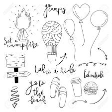 シンプルな手描き落書き線のアイコンのセットです夏かわいいアウトドア ベクトル イラストやレタリング