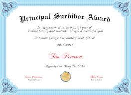 Principal Award Certificate Principal Survivor Award Certificate Created With