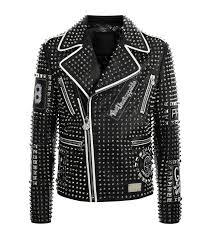 handmade stitached studded leather jacket men black fashion punk rockers jacket men