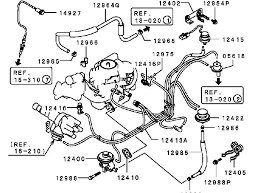 mitsubishi 4g63b can you upply me a vacuumhose routing i had to do some digging to anything on the carb and b model but did manage to scavenge this up it is not an ideal illustration but it does get the