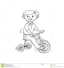 Ragazzo Di Schizzo Di Vettore Sul Triciclo Pochi Sport Del Gioco Da