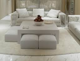 ... Coffee Table, Amusing White Fabric Upholstered Ottoman Coffee Table  With White Rectangle Laminated Wood Design ...