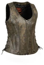 womens side lace black leather biker vest w stitch detailing size 5x 0