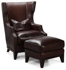 simon li antique espresso leather accent chair and ottoman set