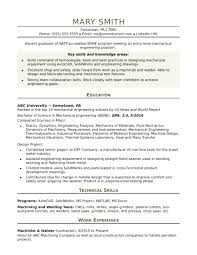 Sample Resume For An Entry Level Mechanical Engineer Monstercom