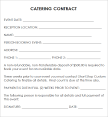 sample catering contract template wedding catering contract sample