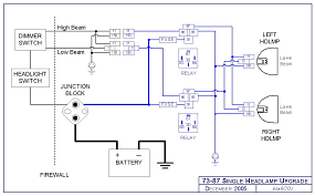 headlight relay harness upgrade single headlight schematic click image for larger view