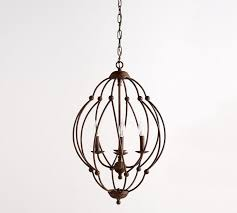 pottery barn bronx pendant chandelier antique rustic finish new in box