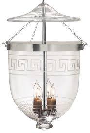 greek key etching hundi glass bell jar lantern 12 d antique brass