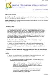 persuasive speech outline sample persuasive speech outline  4 pages sample persuasive speech