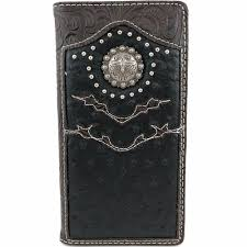 western leather checkbook wallet western longhorn concho mens tooled ostrich leather bifold