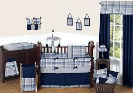 sweet jojo designs sweet designs navy blue and grey plaid boys baby bedding nursery prod crib