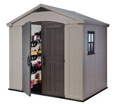 keter factor 8 x 6 resin storage shed all weather plastic outdoor storage beige taupe com