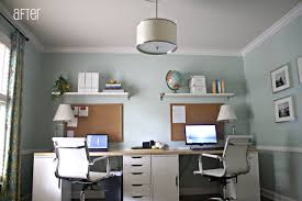 office hanging shelves. Decorations:Small Modern Home Office Design Ideas With Rectangle White Computer Desk And Hanging Shelves H