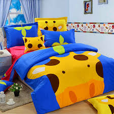 3pcs suit cotton giraffe cartoon children reactive bedding sets home textiles