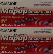 Childrens Pain Reliever Acetaminophen 80 Mg Ages 2 6 Generic For Tylenol Chewable Grape Flavor 30 Tabs Per Box Pack Osf 6 Total 180 Tablets