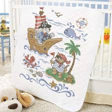 Baby by Herrschners® Pre-Quilted Pirate Voyage Baby Quilt Stamped ... & Baby by Herrschners® Pre-Quilted Pirate Voyage Baby Quilt Stamped Cross-Stitch  Kit Adamdwight.com