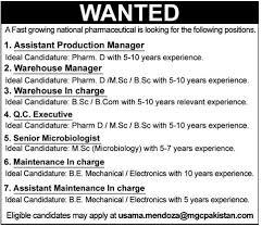 Assistant Warehouse Manager Job Description Assistant Production Manager Warehouse Manager Jobs In Pakistan