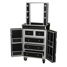 dual sided studio makeup station w lights mirror wheels black