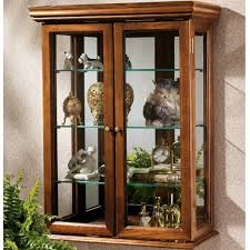 Mesmerizing Wall Mounted Curio Cabinet Black Wood Blue Display Case