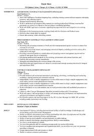 Sample Management Specialist Resume Contract Management Specialist Resume Samples Velvet Jobs