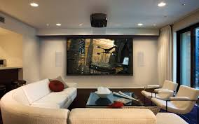 ... Adorable Living Room Home Theater Ideas Design With White Sofa And  Glass Top ...