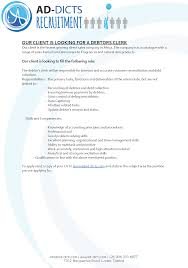 our client is looking for a debtors clerk ad dicts debtors clerk