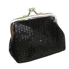 Sanwood <b>Women's Sequins</b> Coin <b>Purse</b> Buckle Mini <b>Wallet</b> (Black ...