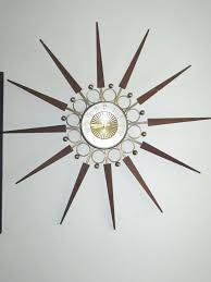 elgin mid century wall clock vintage starburst sunburst mid century modern wall clock era atomic home