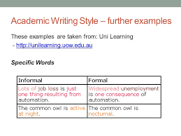 academic english iii class today academic writing 20 academic writing style further examples these examples are taken from uni learning unilearning uow edu au unilearning uow edu au