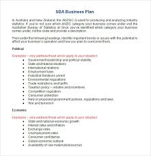business plan template sample business plan template sba sample sba business plan template 9 free