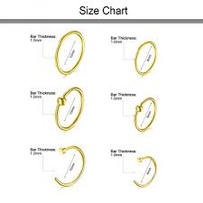 Nose Hoop Size Chart Vcmart 18g Nose Rings Hoop Stainless Steel L Shaped Nose