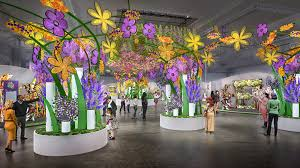 a rendering of the 2019 philadelphia flower show entrance garden which features nearly 8 000 flowers photo courtesy gmr design