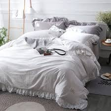 grey blue purple solid color brief style bedding set 100 cotton soft bedclothes full queen purple