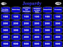 jeopardy fractions and decimals variables on both sides two step equations multi