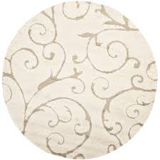 safavieh florida scroll cream beige round indoor tropical area rug common 8