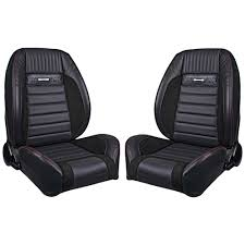 tmi front bucket seat sport r pro series pony low back black with red stitching