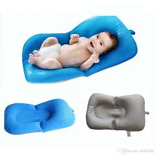 2019 portable infant air cushion bed baby bath pad non slip bathtub mat new born safety security bath seat support baby shower accessories from tokolife