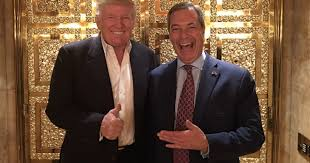 people in elevator. men of the people donald trump and nigel farage pose in golden elevator l