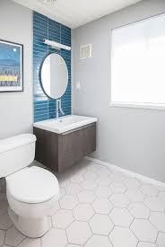 mid century modern bathroom tile.  Tile Midcentury Modern Eichler Bathroom Featuring Heath Tile White Hexagon Tile  Flooring And European Vanity Faucet Design By Destination Eichler Intended Mid Century Y