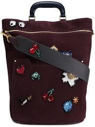 anya hindmarch all over stickers shoulder bag burgundy women bags anya hindmarch makeup bag premier fashion designer