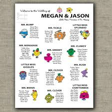 Little Miss Chart Cool And Funny Seating Chart For Weddings Birthdays And Parties