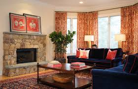 Navy Blue and Red Family Room with Oriental Carpet traditional-living-room