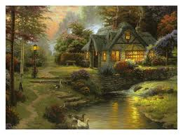 thomas kinkade original paintings thomas kinkade stillwater cottage print original oil painting on