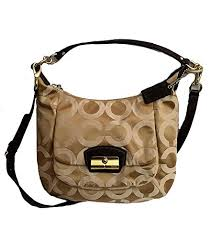 Coach Kristin Signature Op Art Sateen Hobo Shoulder Bag Purse 19331 Khaki  Mahogany