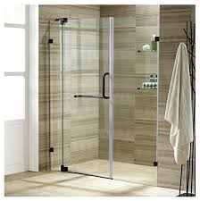 pirouette 60 inch frameless shower door 375 in clear glass antique rubbed bron contemporary shower doors by home reno usa inc