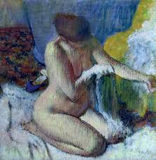 after painting after the bath by edgar degas